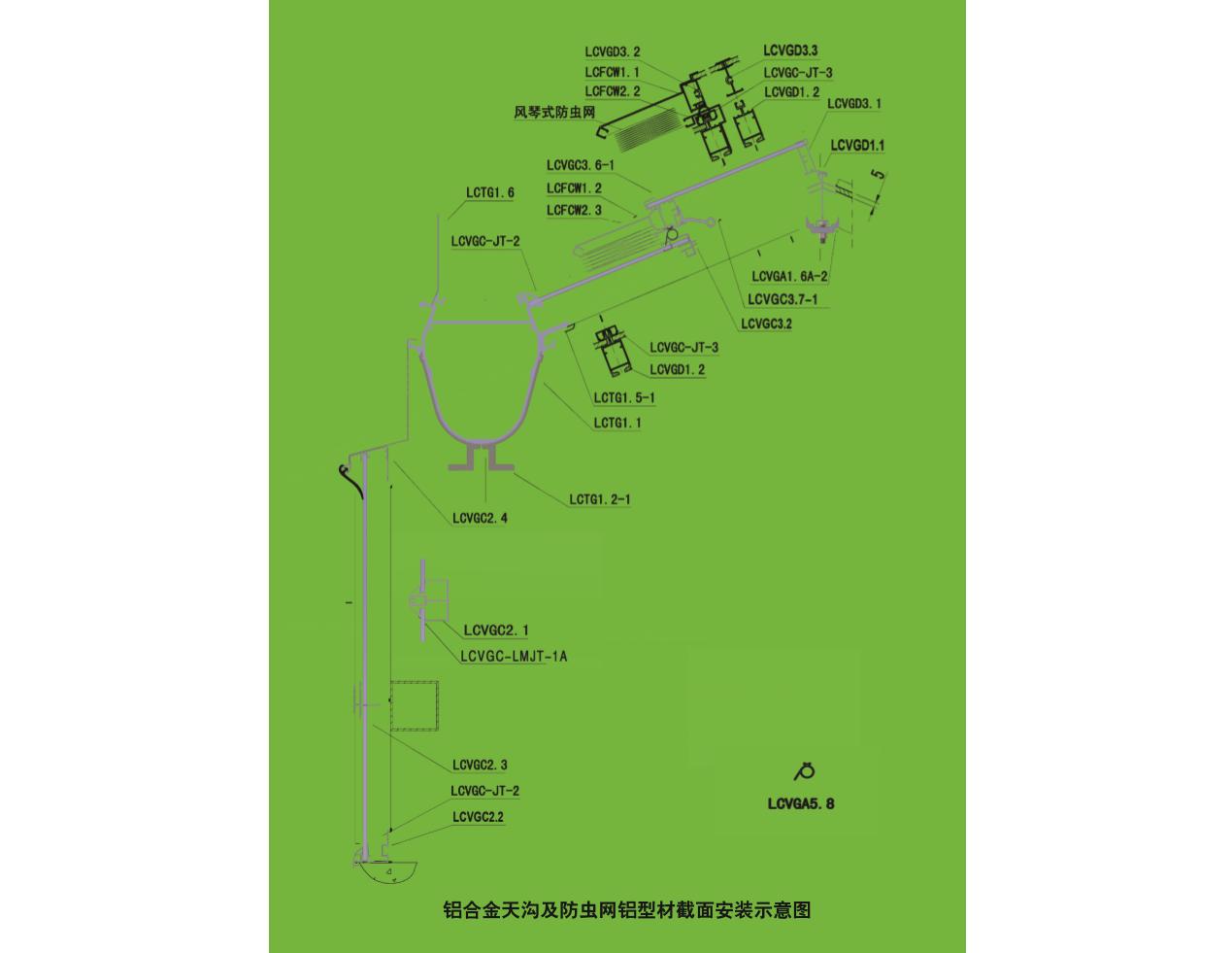 铝合金天沟与防虫网密封型材(LGTG/FCW)(北京华农) 照片